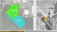 Three warehouses by Prologis and Holt Lunsford Commercial are planned in the DFW Mustang Park development.(DFW Airport)