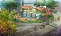 An artist's rendering shows the John F. Kennedy Park for Hope and Healing at Parkland.(Parkland Foundation)