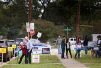 Voters leave the polling station at Geneva Heights Elementary School in Dallas on election day, Tuesday, Nov. 6, 2018.(Rose Baca/Staff Photographer)