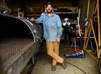 Guess Family Barbecue owner and pitmaster Reid Guess takes a break from welding on a 500-gallon smoker in Waco. Guess says he grew up making barbecue pits and smoking meat. (Tom Fox/Staff Photographer)