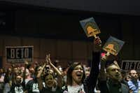 <p>Supporters cheered for Rep. Beto O'Rourke, the Democratic challenger to Sen. Ted Cruz, as he campaigned at the University of Texas at El Paso earlier this week. (Todd Heisler/The New York Times)</p>
