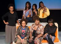 Renee Miche'al Jones (left), <i>Single Black Female</i>&nbsp;director; top row, actresses Jaquai Wade Pearson (left), Jasmine Shanise Garrison, (the understudy) and Maggie Simmons Ward; bottom row, actresses Yolanda Williams (left), Liz Mikel and Stormi Demerson at the South Dallas Cultural Center.&nbsp; Demerson, Mikel and Williams are not in the play but will speak about what it means to be a black single female after the Nov. 17 performance.&nbsp;(Daniel Carde/Staff Photographer)