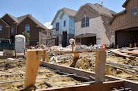Construction sites for Lennar Homes sit at the subdivision University Place in north Dallas on Aug. 6, 2018.(Ben Torres/Special Contributor)