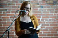 Bonnie Jo Stufflebeam reads a poem during a Spiderweb Salon event in 2017, in Denton.(Jeff Woo/Denton Record-Chronicle)