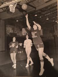 Kathleen Murphy (shooting) played forward for Sheehan High School in Wallingford, Conn., in 1979.(Kathleen Murphy)