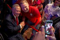 Texas Gov. Greg Abbott posed for a photo with a supporter during the Texas GOP election night party at Brazos Hall in Austin, Texas, on Tuesday, Nov. 6, 2018. Abbott soundly defeated Lupe Valdez in his re-election bid.(Nick Wagner/Austin American-Statesman)