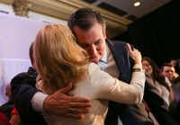 Sen. Ted Cruz, R-Texas, embraced his wife, Heidi Cruz, as he claimed victory over Beto O'Rourke during an election night party Tuesday, Nov. 6, 2018, at the Hilton Post Oak by the Galleria in Houston.(Ryan Michalesko/Staff Photographer)
