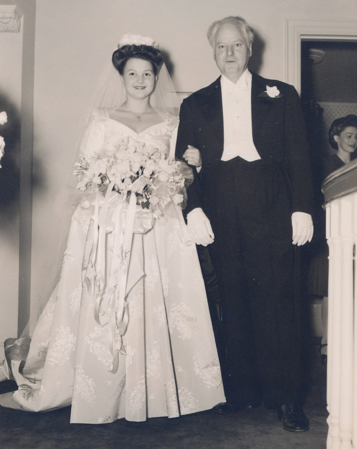 Caroline Hunt walking down the aisle with her father, H.L. Hunt, for her marriage to Loyd Sands. (Courtesy Caroline Rose Hunt)