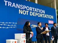 Rep. Joaquin Castro, D-San Antonio, addresses a news conference last month about Greyhound Lines and the checks by immigration agents on buses. Flanking him are Lorella Praeli of the ACLU (left) and Karen Miller, president of the executive board of the Amalgamated Transit Union National Local 1700 (right).(Dianne Solis/Dallas Morning News)