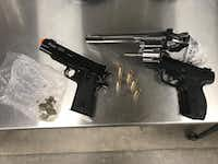 The BB guns that three teens used to shoot up homes and vehicles in the Autumn Ridge neighborhood of Grapevine.(Grapevine Police Department)
