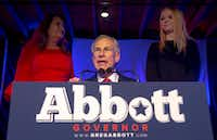 Texas Gov. Greg Abbott speaks to supporters during the Texas GOP election night party at Brazos Hall in Austin on Nov. 6, 2018. Abbott defeated Lupe Valdez in his re-election bid.(Nick Wagner/Austin American-Statesman)