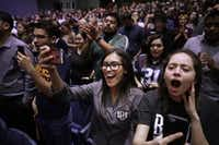Students and supporters cheered for U.S. Senate candidate Rep. Beto O'Rourke (D-Texas) during a campaign rally in the Magoffin Auditorium on the campus of the University of Texas El Paso on Nov. 5 in El Paso.<div><br></div>(Chip Somodevilla/Getty Images)