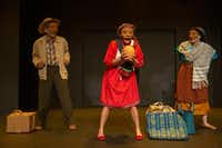 Martin Perez (left), Frida Espinosa Muller (center), and Ana Armenta (right) perform in 'Tina's Journey/El Viaje de Tina' by Cara Mia Theatre Company in Dallas and Labotorio de Mascara in Mexico(Allison Slomowitz/Special Contributor)