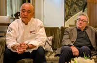 "Chef and restaurateur Nobuyuki ""Nobu"" Matsuhisa and business partner Robert De Niro describe their plans for Nobu Hotel at Caesars Palace and healthier menu items at Nobu restaurants.(Michael Hiller/Special Contributor)"