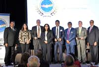 "Sanjeev Khanna (from left), Karen Katz, Sean Donohue, Neel Gonuguntla, Vivek Sankaran, Suhas Naik,  G. Brint Ryan and AK Mago attended the U.S. India Chamber's 19th annual awards banquet in Plano(U.S. India Chamber of Commerce/<p><span style=""font-size: 1em; background-color: transparent;"">U.S. India Chamber of Commerce</span><br></p><p></p>)"