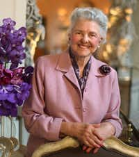 Caroline Hunt at the Mansion on Turtle Creek at the entrance to the dining room in 2009(David Woo)