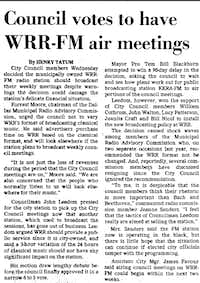 The Feb. 2, 1978,<i> Dallas Morning News</i> story about the vote that put Dallas City Council meetings on WRR.