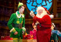 (from l-r) Matt  Kopec  (Buddy)  and  Gordon  Gray  (Santa)  in <i>Elf  The  Musical</i>, presented by Dallas Summer Musicals and Broadway Across America Nov. 27-Dec. 2 at Fair Park Music Hall in Fair Park.(Joan Marcus)