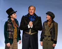 Derril Lasseigne (left), Bob Hess and Grace Moore in Dallas Children's Theater's <i>Magic Tree House's Holiday Musical: A Ghost Tale for Mr. Dickens</i> Nov. 16-Dec. 23 at the Rosewood Center for Family Arts.&nbsp;(Karen Almond)