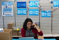 Rashida Tlaib, who is one the first two Muslim women elected to Congress, makes calls during a get-out-the-vote effort at a campaign office in Dearborn, Mich., on Oct. 5, 2018.(Brittany Greeson/The New York Times)