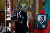 Sammie Berry of Dallas West Church of Christ gives a sermon during the funeral of Botham Jean at Minor Basilica of the Immaculate Conception in Castries, St. Lucia on Sept. 24. Jean attended Berry's church in Dallas and Berry flew to St. Lucia for his funeral and burial.(Vernon Bryant/Staff Photographer)