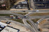 Aerial photograph of the intersections of Garland Road and Gaston and East Grand avenues taken Dec. 9, 2014, in northeast Dallas. (G.J. McCarthy/Staff photographer)