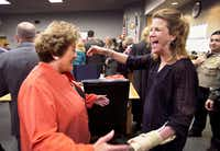Travis County District Judge Julie Kocurek (right) was welcomed back to the bench by District Attorney Rosemary Lehmberg in February 2016 after weeks recovering from an assassination attempt in November 2015.(Ralph Barrera/Austin American-Statesman)