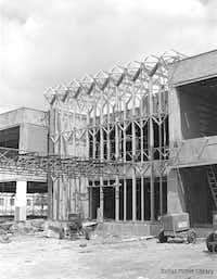 """The building as it looked during construction in 1963(<p><span style=""""font-size: 1em; background-color: transparent;"""">From the Grayson and Douglas Gill Archives/Dallas History &amp; Archives Division at the Dallas Public Library</span></p>)"""