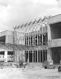"""The building as it looked during construction in 1963(<p><span style=""""font-size: 1em; background-color: transparent;"""">From the Grayson and Douglas Gill Archives/Dallas History & Archives Division at the Dallas Public Library</span></p>)"""