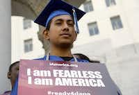 Immigrant Jose Montes attends an event on Deferred Action for Childhood Arrivals, DACA and Deferred Action for Parental Accountability, DAPA, part of the  immigration relief program, downtown Los Angeles Tuesday, Feb. 17, 2015.(Nick Ut/The Associated Press)