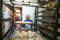 <p>Alfonso Vera, owner of Vera's Bakery Inc., prepares pastries at his shop in Dallas on Nov. 13, 2018. The family-owned business has been operating near the Bishop Arts District since April 1, 1995, but as gentrification encroaches on it, the bakery's owners find themselves navigating the changing landscape.</p>(Shaban Athuman/Staff Photographer)