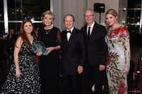 From left: Kelly Cantu Dees, Allie Beth Allman, Pierce Allman, Dick Davis, Laura Chancellor Black at the Flora Awards Gala.(james edward      214.878.6008)