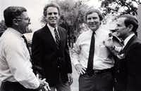 From left, Schuyler Page, Roger Staubach, Arthur L. Ruff and Troy Dungan in a 1986 Fete Set photo.(File Photo/Staff/Joe Laird)