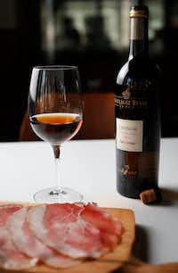 Gonzalez Byass Leonor Palo Cortado Sherry with sliced culatello (Rose Baca/Staff Photographer)