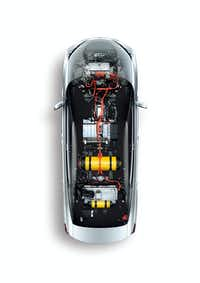An overhead of the fuel cell system in a Mirai.(Toyota)