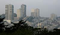 Smoke and haze from the recent wildfires hovered over Russian Hill on Nov. 19 in San Francisco.(Eric Risberg/The Associated Press)