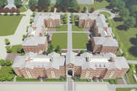 <p>An architect's rendering of TWU's new residential village, scheduled for completion next fall.</p>(Texas Woman's University)