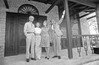 Then-Treasury Secretary John Connally, left, and his wife, Nellie, stand on the front porch of their ranch home in South Texas with President  Richard M. Nixon and his wife, Pat, their house guests for the at night on Sunday, April 30, 1972 in Floresville.(AP)