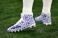 Dallas Cowboys quarterback Dak Prescott wore a special pair of Adidas with the logo FAITH on them in a game a year ago against the Washington Redskins.(Tom Fox/Staff Photographer)