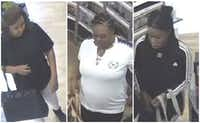 Surveillance footage pictures three suspects in the shoplifting from an Ulta on South Hulen Street.(Fort Worth Police Department)