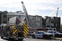 More than 50 firefighters were on the scene at the early morning apartment fire at the Meadows at Ferguson complex Wednesday.<div><br></div>(Nathan Hunsinger/Staff Photographer)
