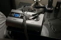 Tony Schmidt's ResMed breathing device(<p>Brandon Thibodeaux for ProPublica</p>)