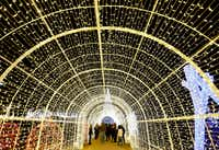 A tunnel of Christmas lights is part of the maze in the Enchant holiday attraction at Globe Life Park in Arlington. (2017 File Photo/Jae S. Lee)