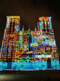 Visitors can watch SAGA, a free 24-minute light show that is projected on the San Fernando Cathedral, just outside the Drury Plaza Hotel. The show is visible from the hotel's balconies.(Robin Soslow/Special Contributor)