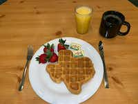 Dig into a waffle shaped like the state of Texas at the Crockett in San Antonio.(The Crockett/Courtesy)