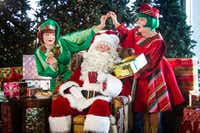 """Emily J Pace, James Chandler, Laura Wetsel (Jangle, Santa, Jingle) in """"  Twas the Night Before Christmas: A Holiday Musical and Parody Spectacular"""" by Casa Manana Theatre in Fort Worth.(Chip Tompkins)"""