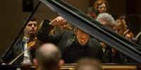 Pianist Andrew Von Oeyen performs  Grieg's Piano Concerto in A minor, Op. 16 with conductor Andrew Grams and the Dallas Symphony Orchestra at the Meyerson Symphony Center in Dallas on Friday, November 23, 2018. (Daniel Carde/Staff Photographer)