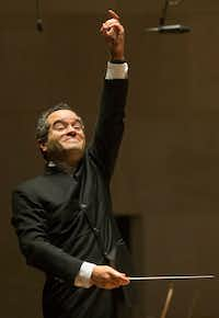 Conductor Andrew Grams conducts the Dallas Symphony Orchestra in a selection from Tchaikovsky's Sleeping Beauty at the Meyerson Symphony Center in Dallas on Friday, November 23, 2018.(Daniel Carde/Staff Photographer)