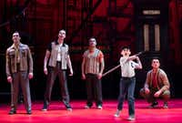 Frankie Leoni (second from right) and&nbsp;the musical&nbsp;<i>A Bronx Tale&nbsp;&nbsp;</i>will be in Dallas at the Winspear Opera House from Dec. 23 to Jan. 6.&nbsp;(AT&amp;T Performing Arts Center)