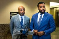 Jean family attorneys Daryl K. Washington, left, and Lee Merritt speak to the media at the Frank Crowley Courts Building on Monday, November 26, 2018. (Shaban Athuman/Staff Photographer)